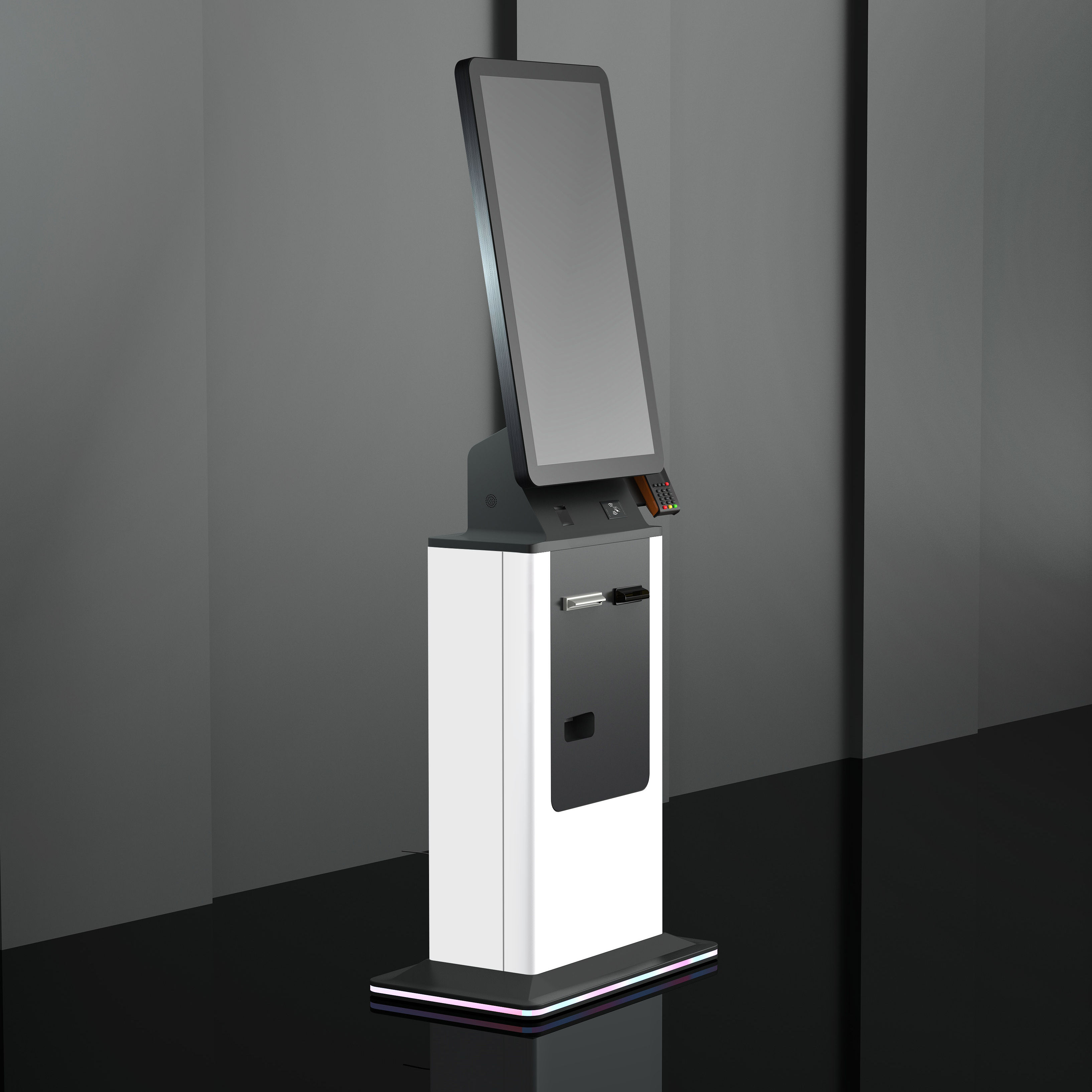 32 inch ticket dispenser self checkout machine queuing system kiosk touch screen floor stand kiosk payment terminal rfid