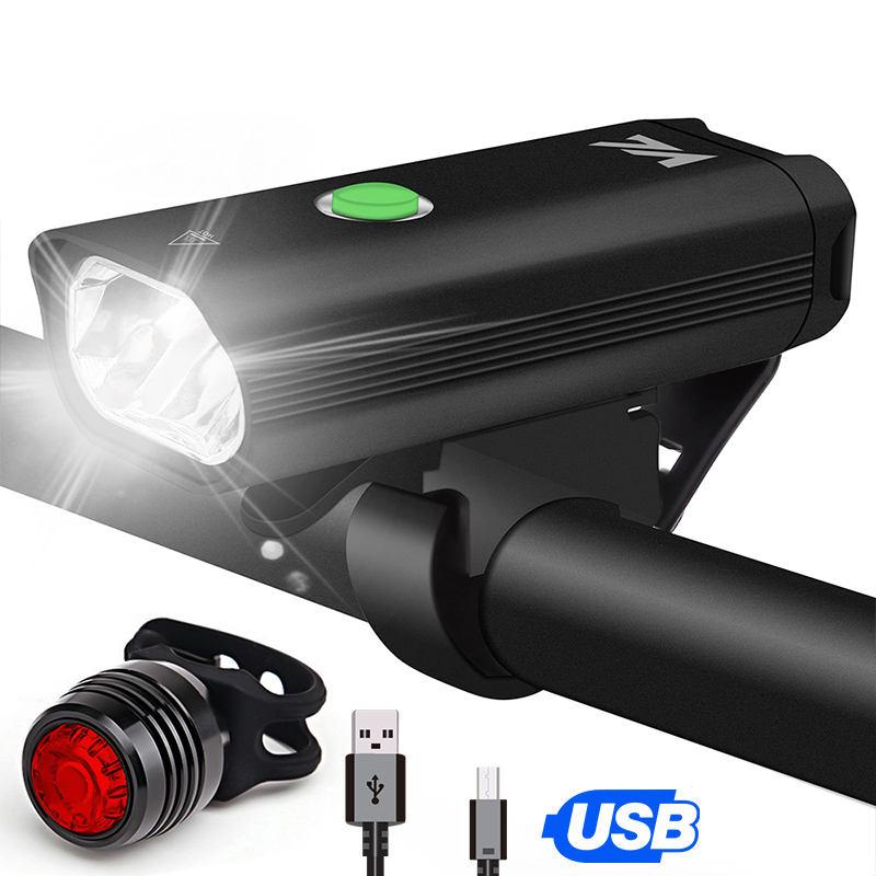 VICTGOAL LED Bike Light USB Rechargeable Bike Light Set Front LED Rear Light