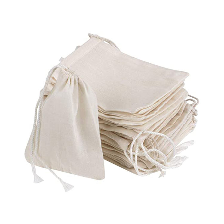 Cheap hotsale small custom natural reusable gift packaging linen drawstring organic cotton packaging canvas pouch