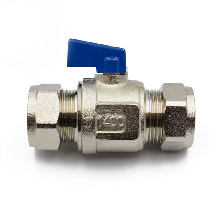 High quality Butterfly Handle by brass by pass compression end ball valve with inlet and outlet