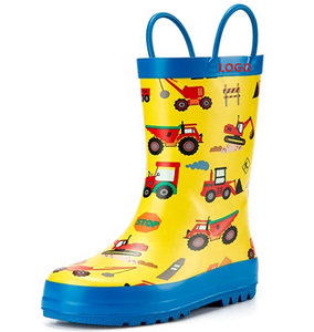 Cartoon Car Printing Kids Style Natural Rubber Rain Boots Wholesale
