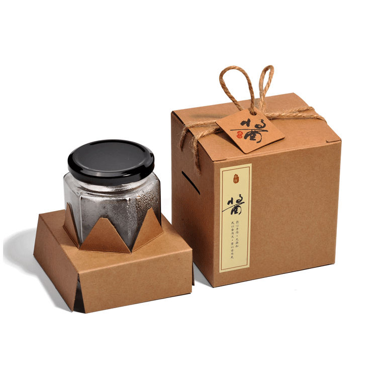 Vintage Luxury Brown Kraft Honey Jars Afternoon Fruits Tea Bags Gift Box for Local Speciality