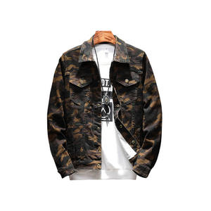Euro style high quality men camo printed denim jacket