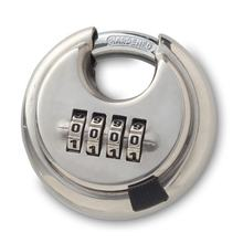 Heavy Duty Stainless Steel Round Combination Lock Resettable 4-Digit Weatherproof Keyless digit disk pad lock