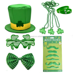 St. Patricks Day Dekorationen Mit Shamrock Sonnenbrille, Grün Party Mustaches, GreeBow Krawatte, Irish Perlen Halskette