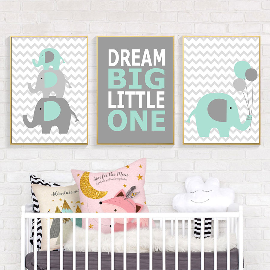 Warm Elephant Family Poster and Prints Pop Art Baby Nursery Wall Art Animal Picture Bedroom Cartoon Decorative Painting Art
