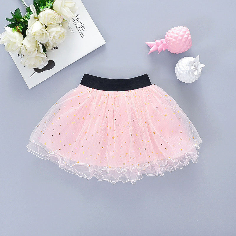 Flofallzique 2020ブランドGold Star Pattern Toddler Fashion Flower Girl Princess Solid Tutu Skirts
