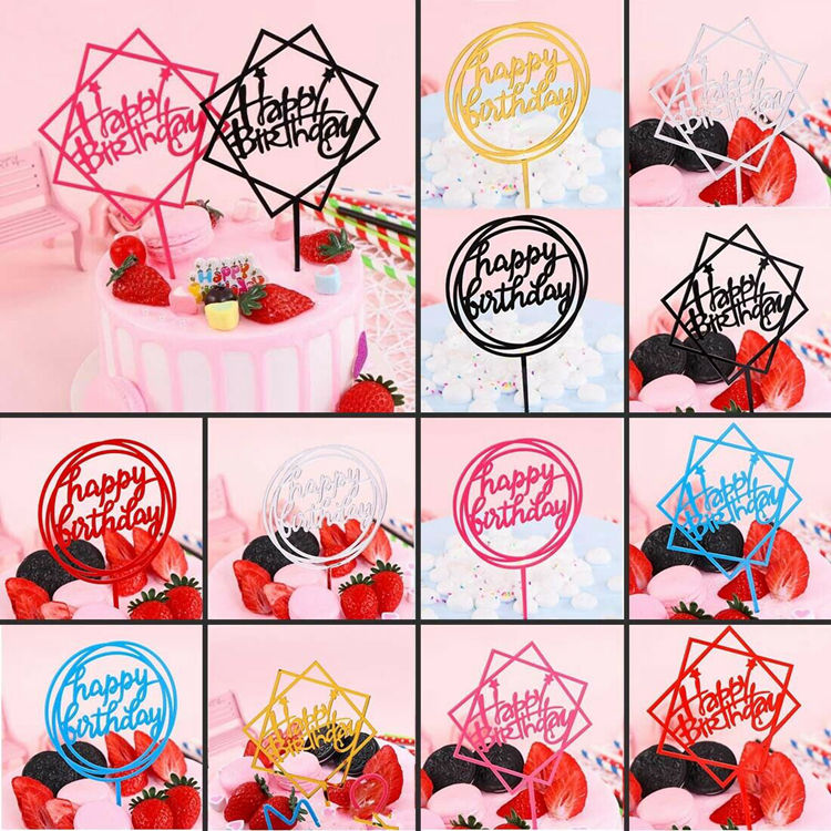 QAKGL Happy Birthday Cake Topper Acrylic Home Decor Baking Cake Toppers Card Wedding Party Decor Supplies Cupcake Insert Card