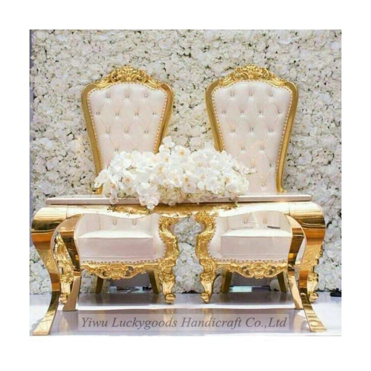 LG20171113-2 Bride and groom white wedding sofa chair party throne chair and marble table