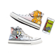 Free Shipping Men Classic High Top Couple Hand Painted Tom and Jerry Men Canvas Shoes Wholesale