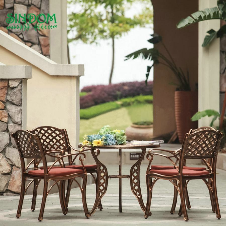 5pcs cast aluminum frame outdoor garden and patio furniture set dining table and chairs