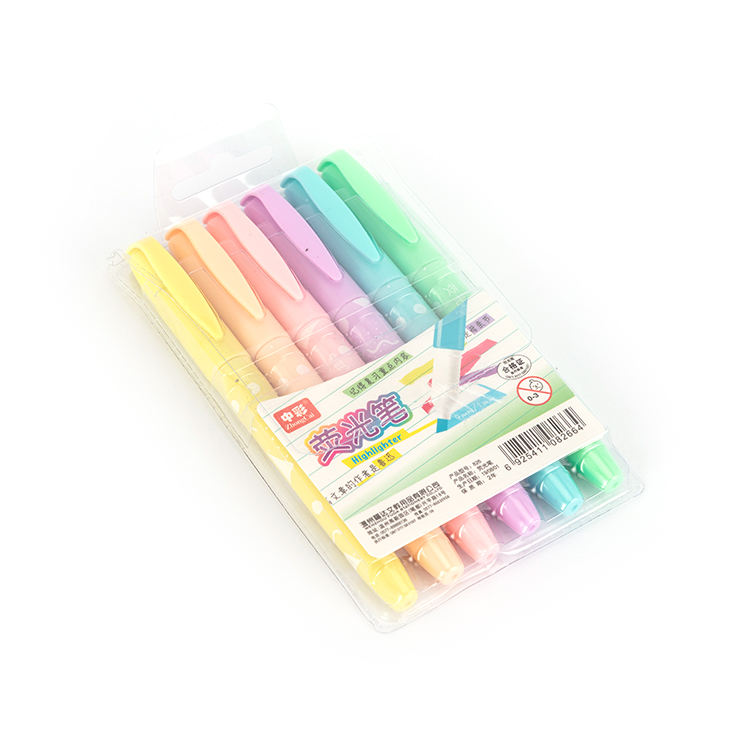 Fancy multi assorted 6 colors highlighters colored fluorescent pen