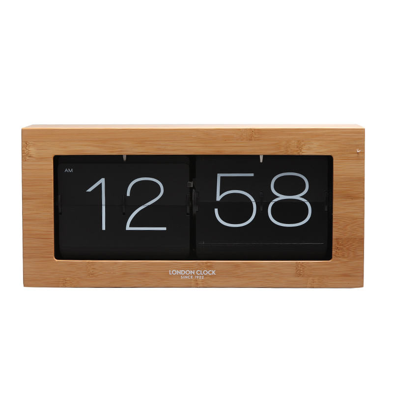Living Room Study Creative Standing Desk Wall Automatic Page Turning Flip Flap Clock Down Click Bamboo Environmental