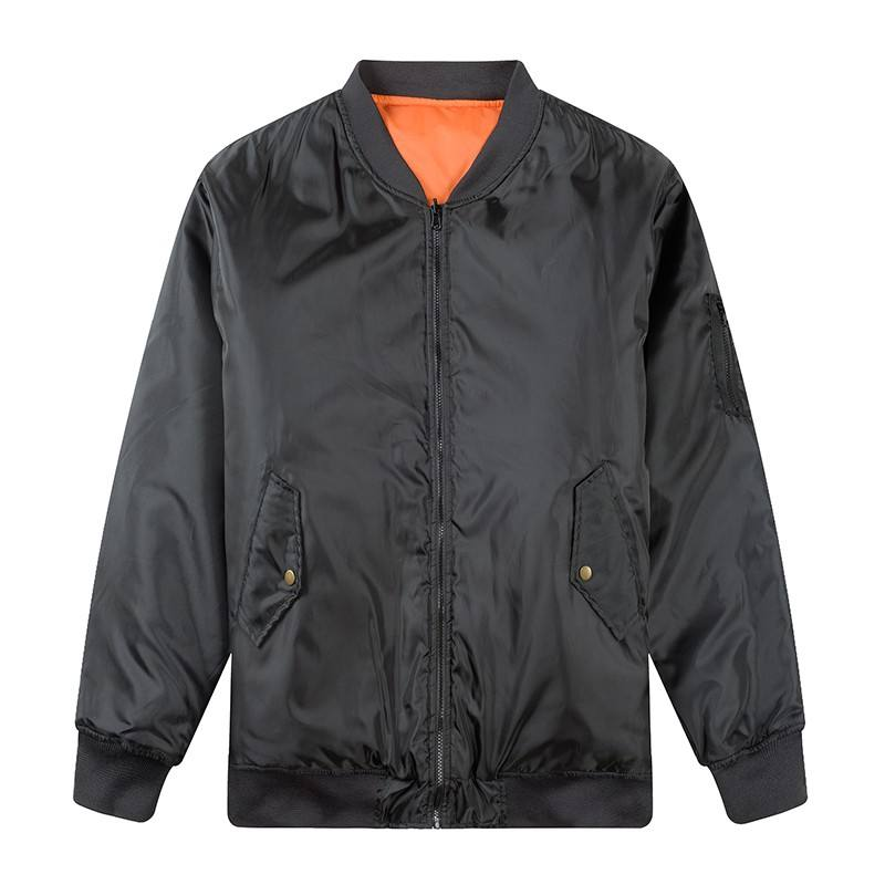 Reversible Warm Waterproof Plain Satin Men Bomber Jacket