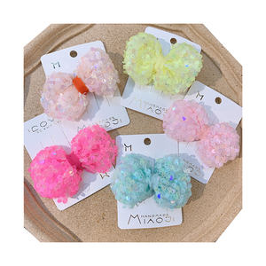 Korea styles yarn hairpins girls sequins hair clips candy color shiny bow bobby pins for kids