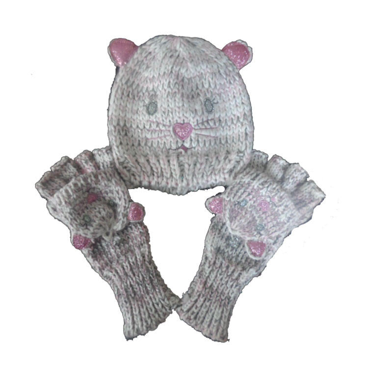 Wholesale winter beanie set girls knitted set beanie and gloves set