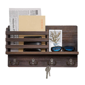 Wall Mounted Mail Holder Wooden Mail Sorter Organizer with 4 Double Key Hooks and A Floating Shelf