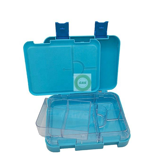 Christmas gift 6 compartment blue of bento kids leak proof lunch box for kids and children