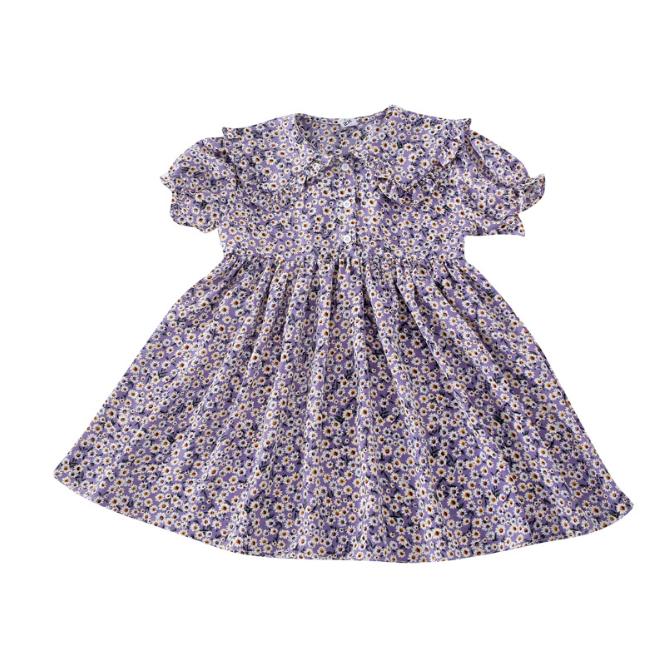 PHB 14320 flower prints summer 2020 children girls purple dresses for kids