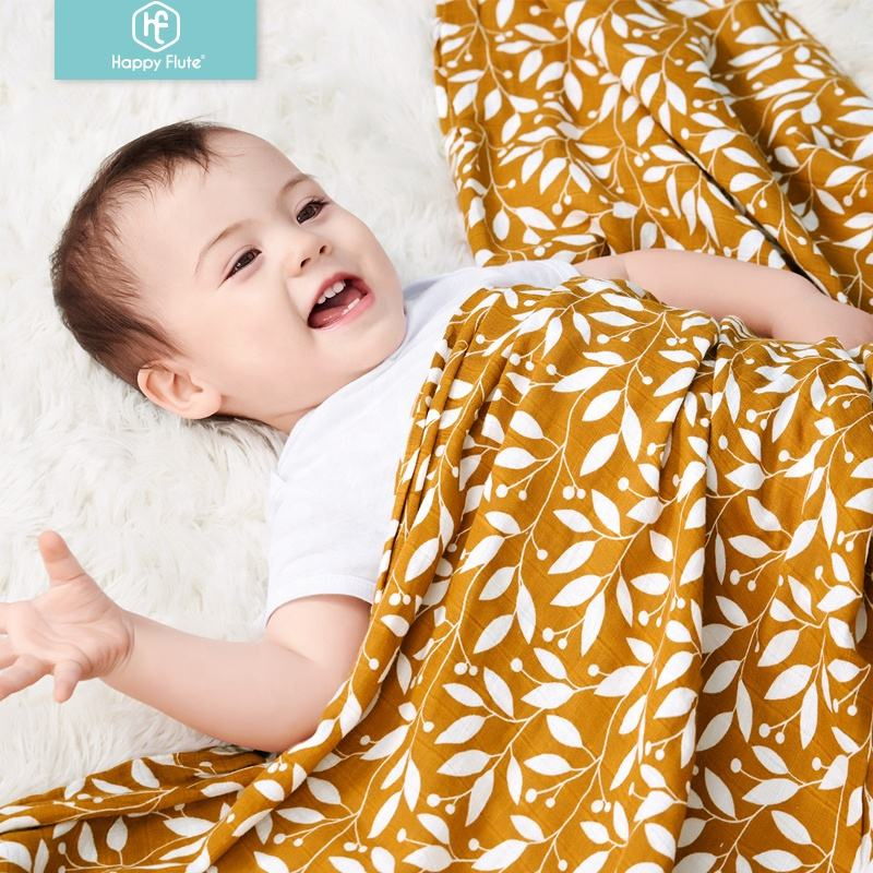 HappyFlute eco-friendly happiest baby cotton muslin swaddle blanket infant muslin wrap cozy fabric