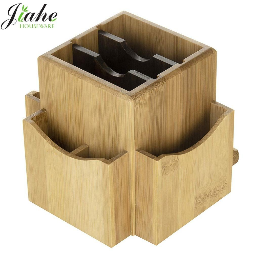 Bamboo Rotating Desk Organizer Bamboo Desktop Storage Rack