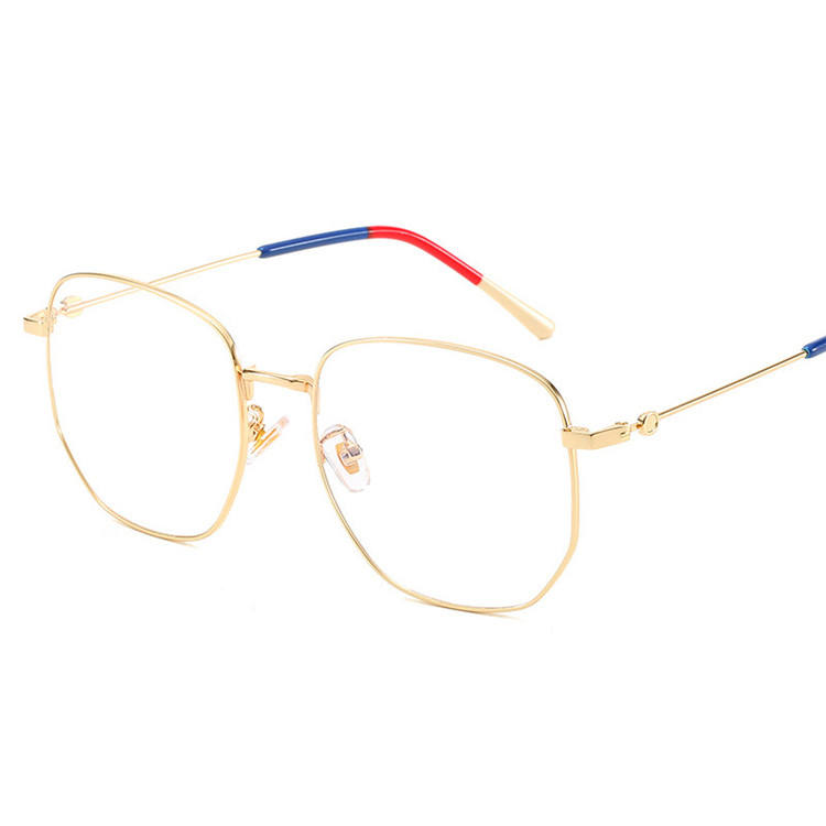 2020 Custom Vintage Clear Lens Fashion Women Square Gold Glasses Frame Optical