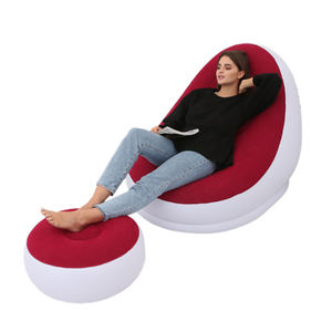 Red High Quality Inflatable Lazy Lounge Chair with Ottoman in Stock