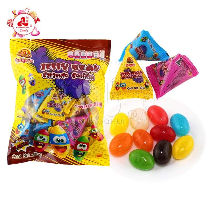 Good Quality Multi-colorful Fruits Flavor jelly bean Candy In triangle bag