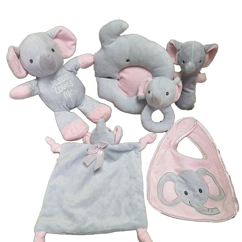 Newborn Baby Gift Set Sleep Rattle Baby Plush Pillow Toy Elephant Bunny Soft Toy Baby Comforter Blanket