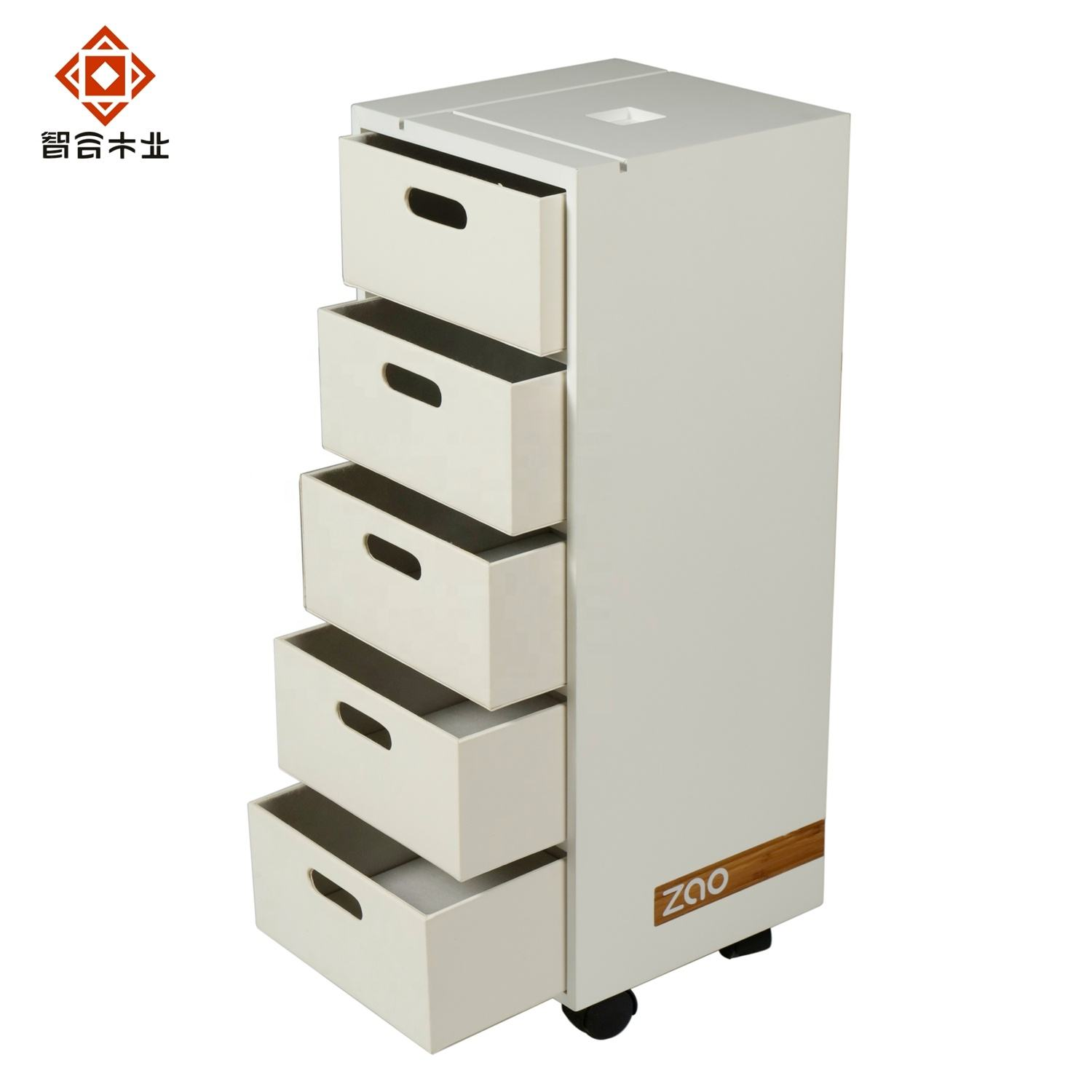 Custom Modern Simple MDF White Wood 5 Drawers Chest Wooden Drawers Furniture For Living Room Hallway Bedroom