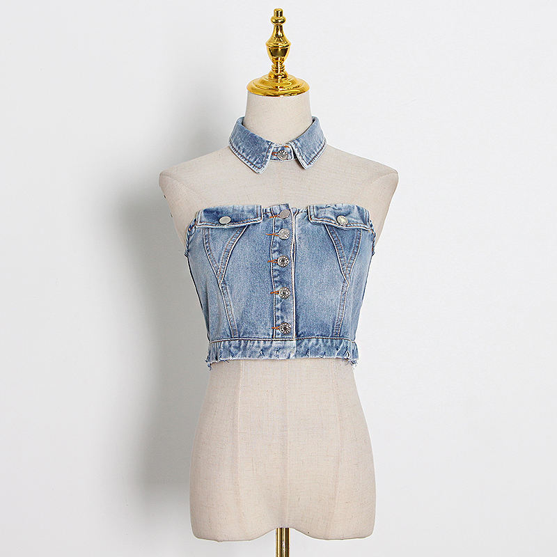 Women Sleeveless Tops Blue Denim Sleeveless Hollow Out Ladies Blouses