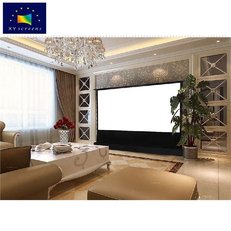 XY 80-150 Floor Rising Electric Projection ScreenとAmbient Light Rejected PVC GreyためFabric 4K Ultra Short Throw Projector