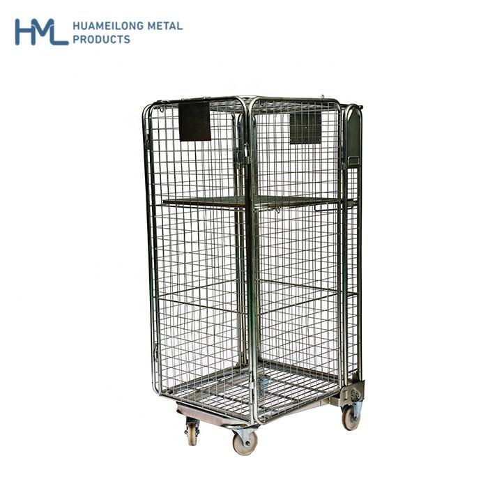 Roll Container Industrial Metal Storage Collapsible Cage with Wheels for Laundry