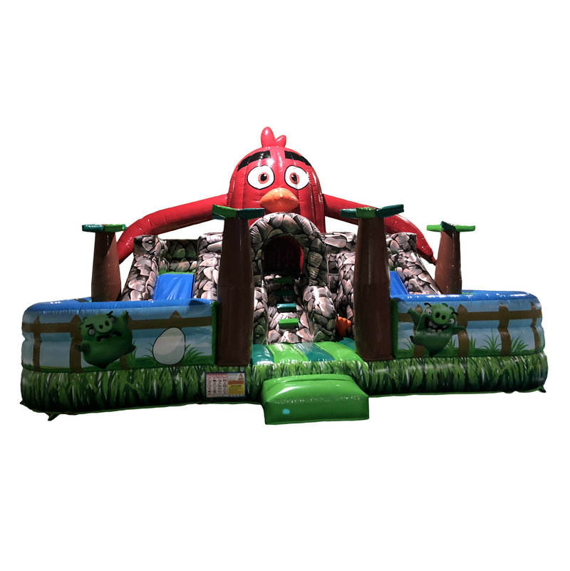 Red Inflatable Bouncer Combo Angry Nhảy Trượt Inflatable Air Games Fun Bird Theme