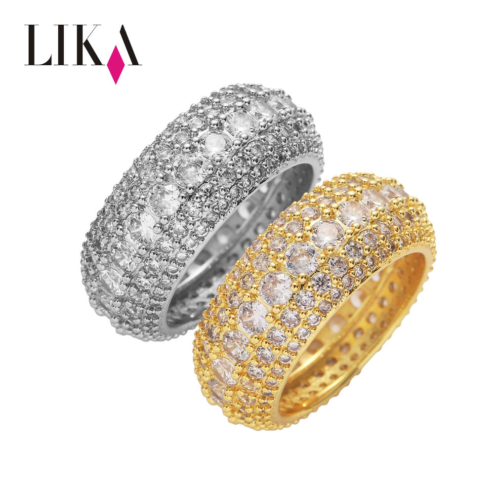 LIKA New Arrival Hiphop Women Men Couple 5 Row Diamond Prong Set Gold Silver CZ Rings 18 18k Gold Plated Ring
