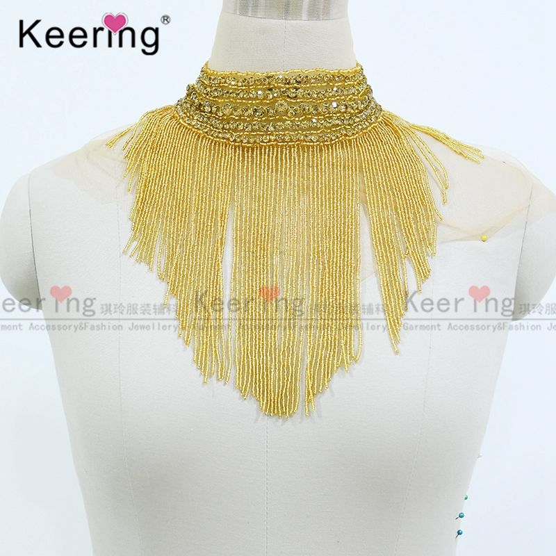 Fashion high end Rhinestone stones crystal beads fringe large patch for dancing dresses WDP-108