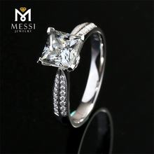 Messi Jewelry 18k gold 1 carat D white color VVS princess cut moissanite diamond ring