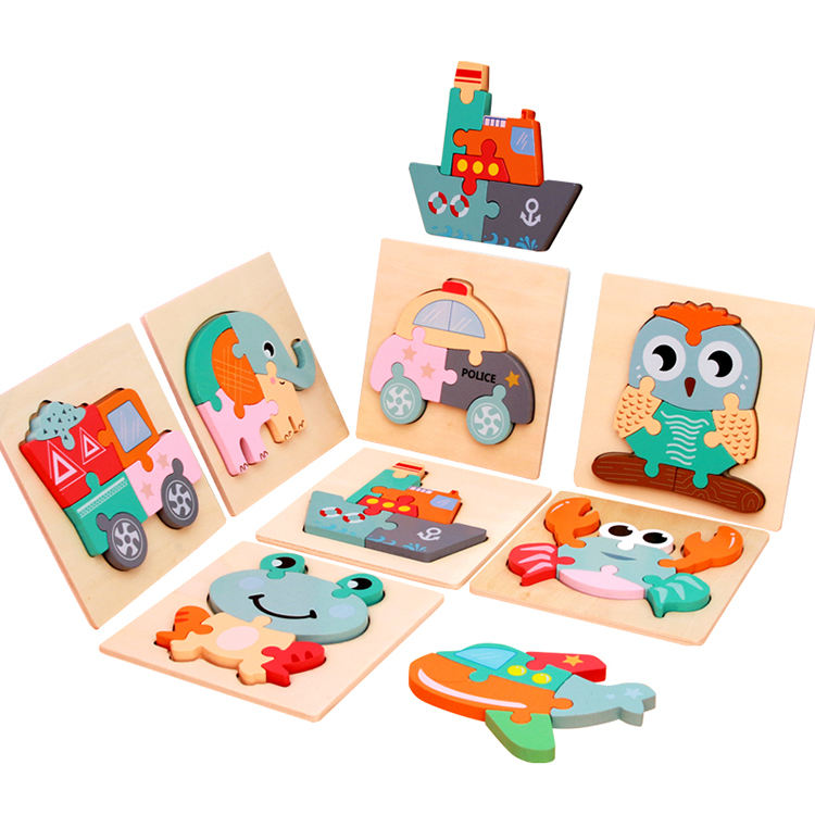 Hot Selling OEM Design Kids Early Educational Animal Construction Puzzle Toy Baby Wooden Building Block Bricks