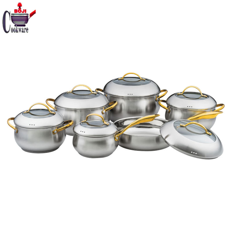 Hot sales real kitchen ware 12 pcs casserole surgical Stainless steel apple shape royal prestige cookware set