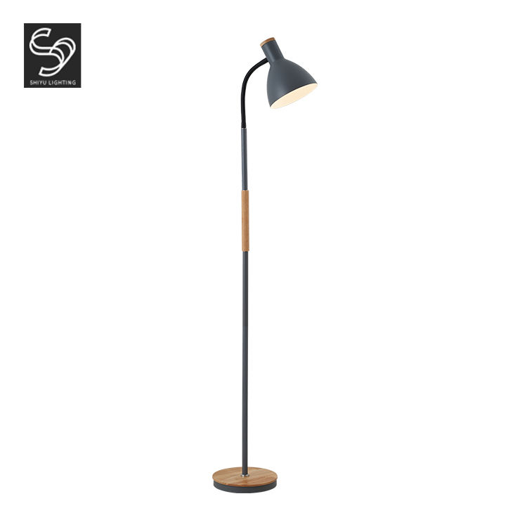 Nordic Design Modern Room Fabric Wood Standing Gray Art Lights Led Floor Lamp