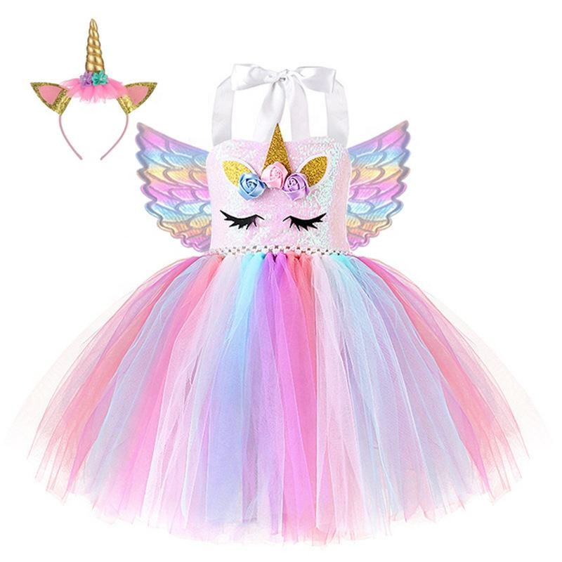 Performance Wear Unicorn Dress Up Clothes for Little Girls Rainbow Unicorn Tutu Dress Costume with Headband Birthday Gift
