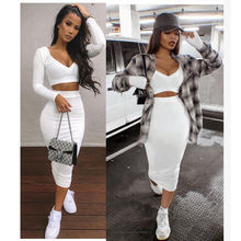 Free Shipping New model fashion two piece long sleeve Deep v Bedford Autumn maxi bodycon woman long dress