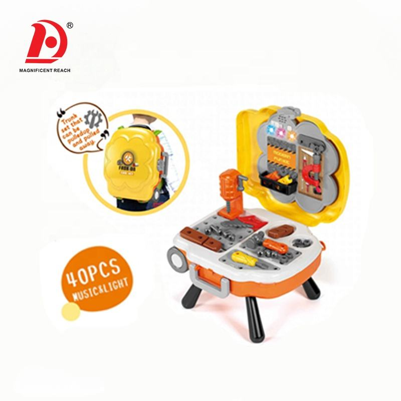 HUADA 2020 New Design Pretend Play Games Children Plastic DIY Tool Set Toy with Music & Light