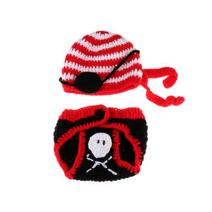 Newborn baby crochet knitted photo shoot props cute pirate design Winter baby hat and pants baby gift photo clothes