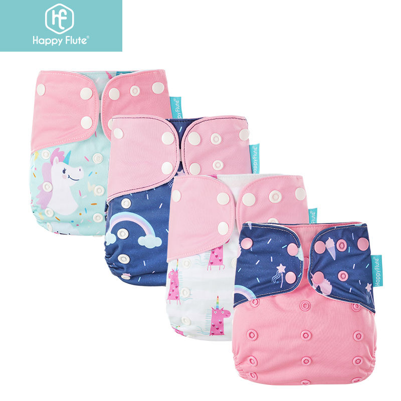 Happy Flute Washable Baby Cloth Diaper 4 Pcs / Set Waterproof Printed Suede Cloth Lining Nappy