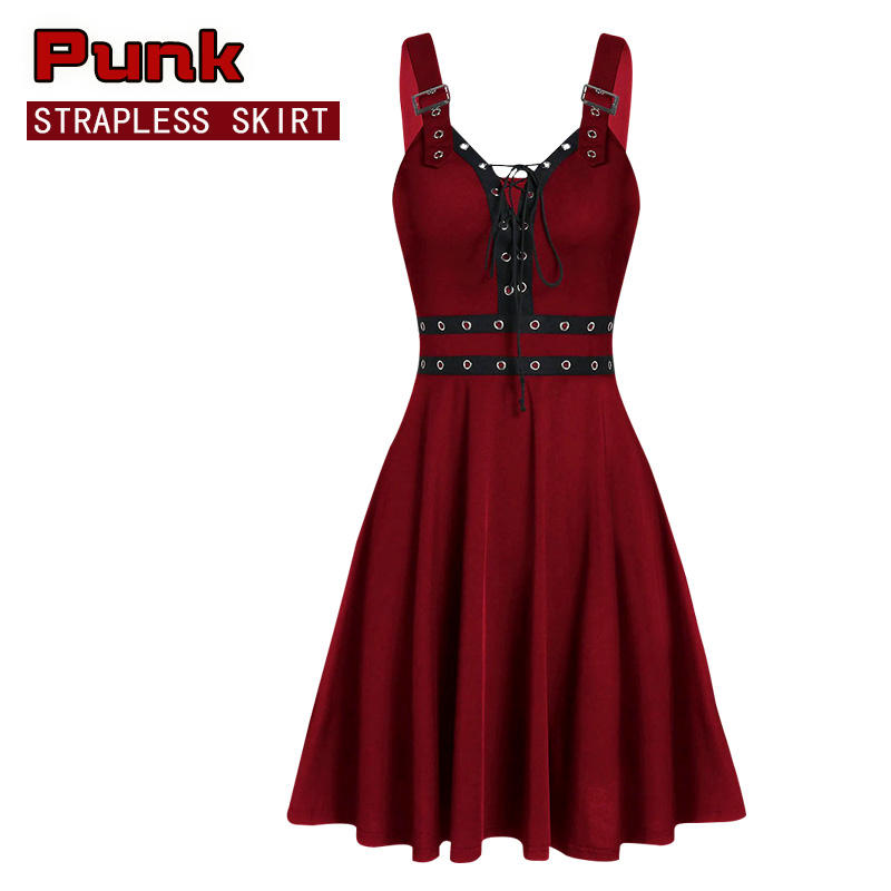 Spot AliExpress Amazon wish new ladies gothic punk style stitching strap sling dress