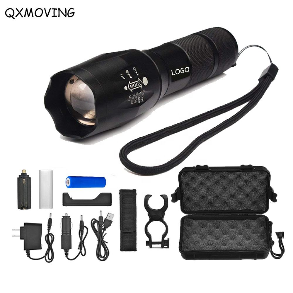 QXMOVING Waterproof Torch Light Wholesale Zoom Rechargeable Led Tactical Flashlight Set With Mount Bicycle Front Light Bracket