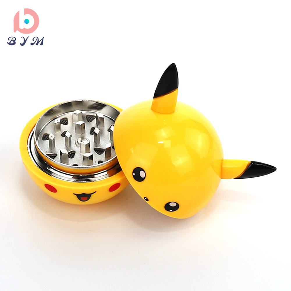 Pikachu Shape cute grinder tobacco zinc alloy creative gifts plastic herb grinders