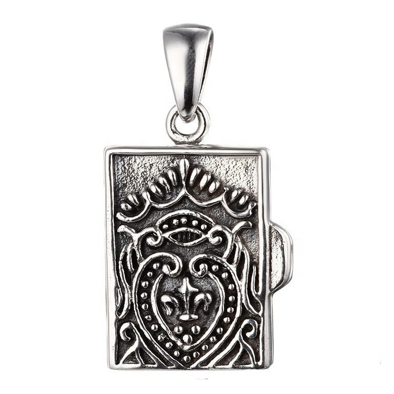 Vintage 925 Sterling Silver Book Pendant Thai Silver Locket Pendant