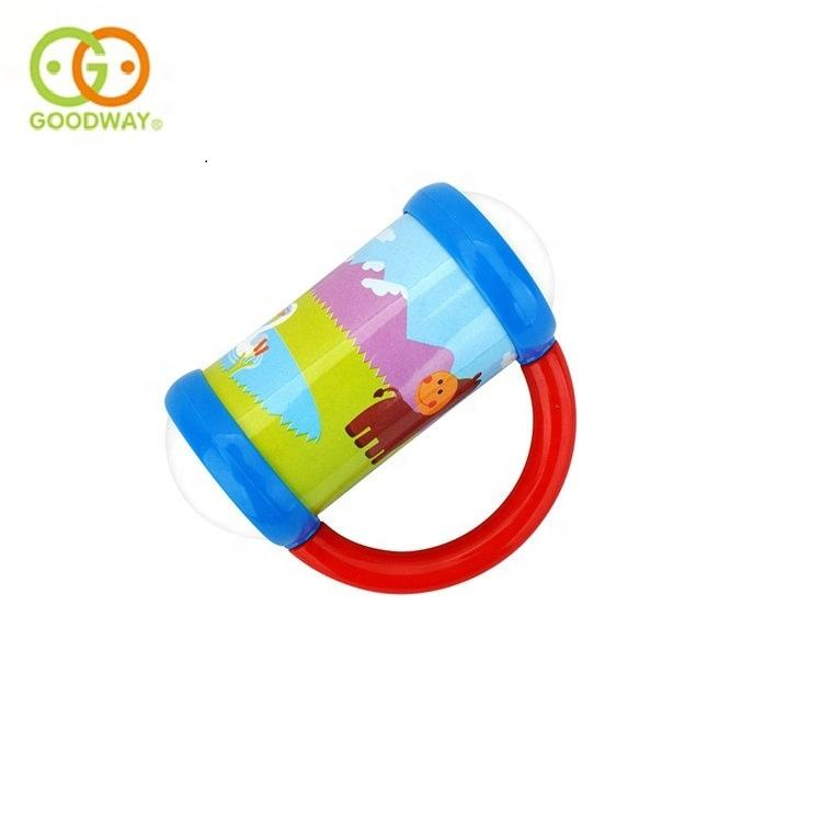 Wholesale cartoon animal pattern plastic musical hand rattle for baby